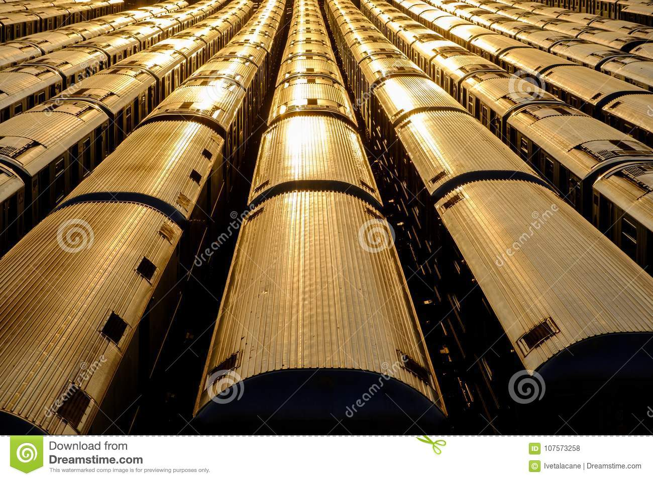Subway train car tops stock photo  Image of transportation - 107573258