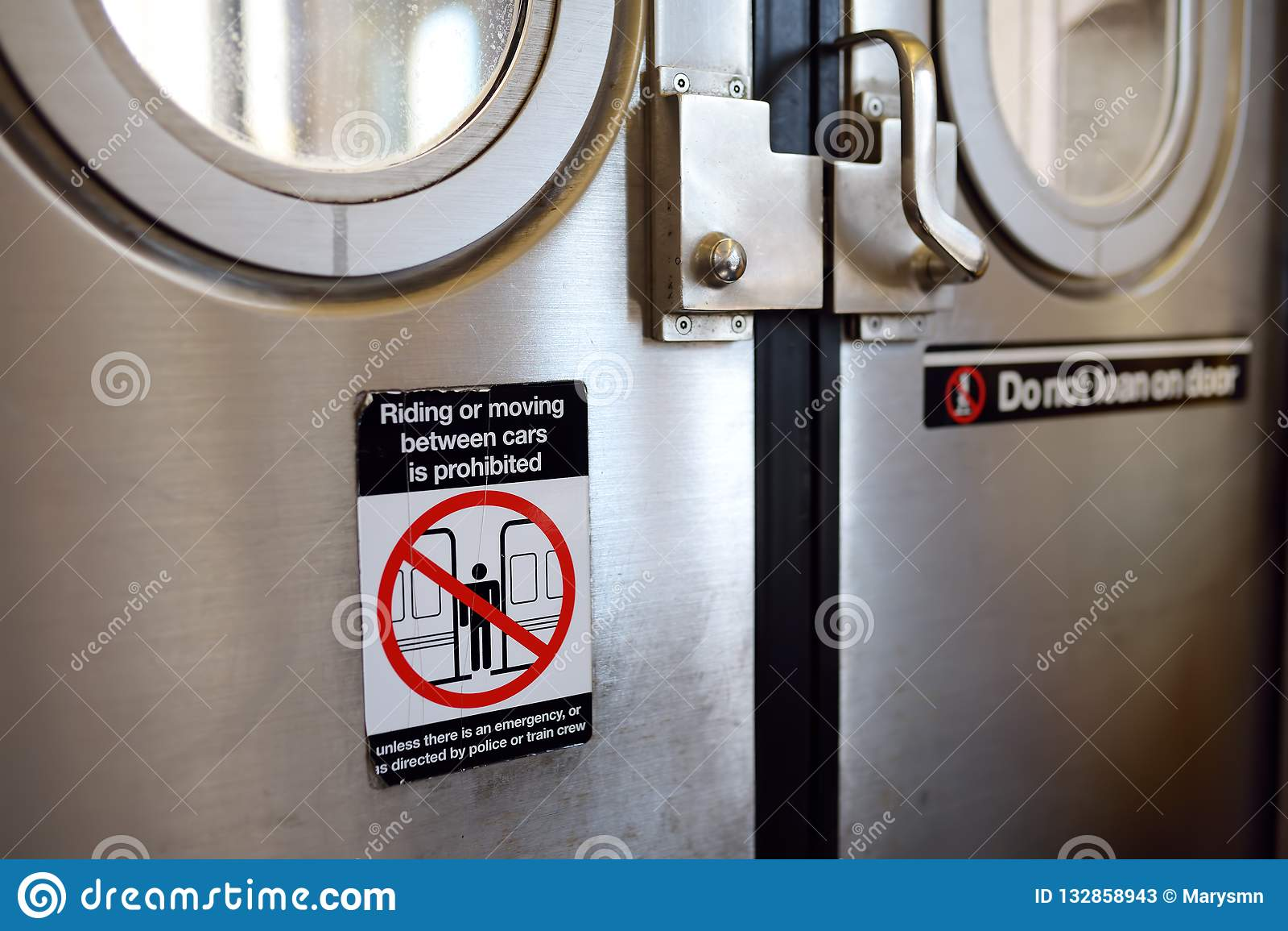 Subway Train Doors And Windows In New York Stock Image ...
