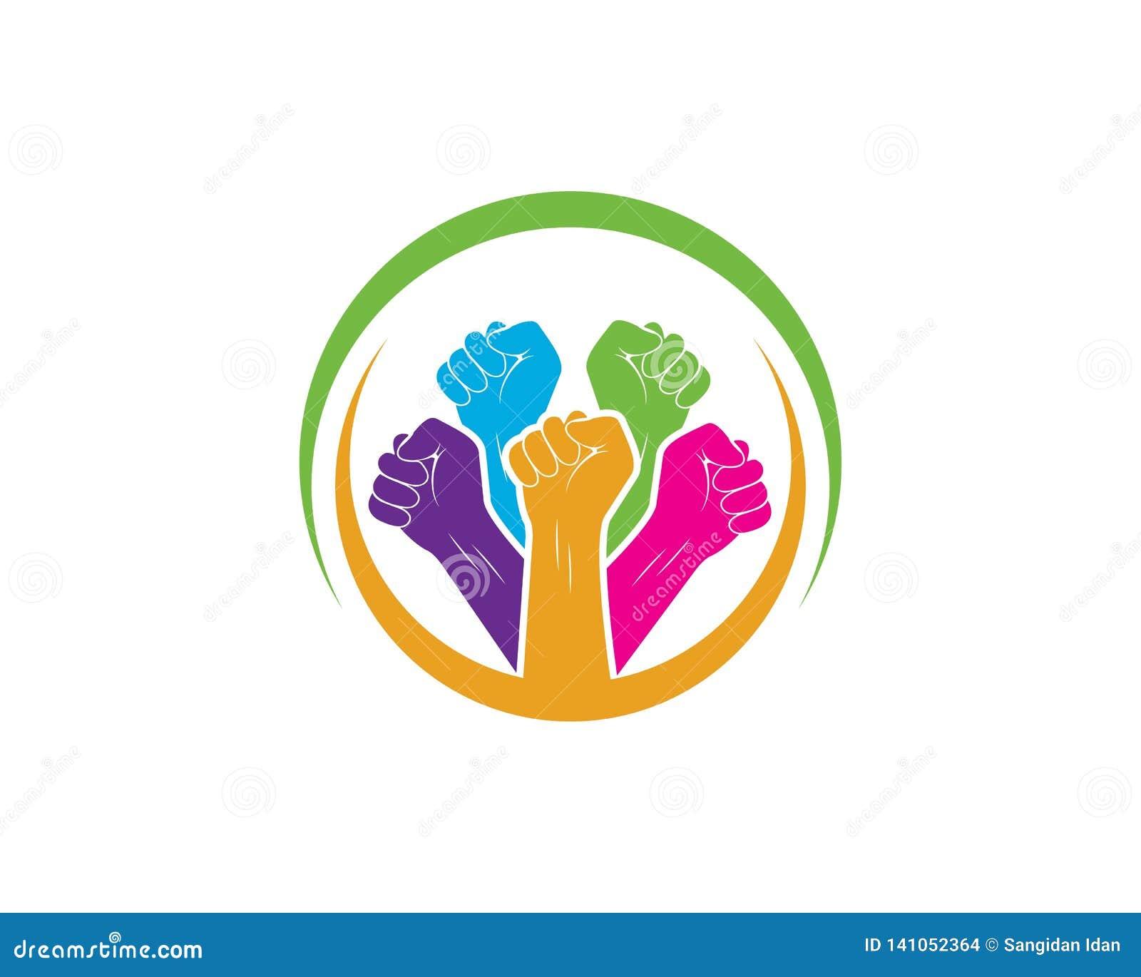 Succès, vecteur de logo d icône de main d unité