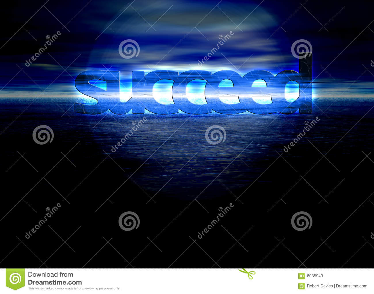 Succeed Text on Blue Bright Ocean Sea at Night