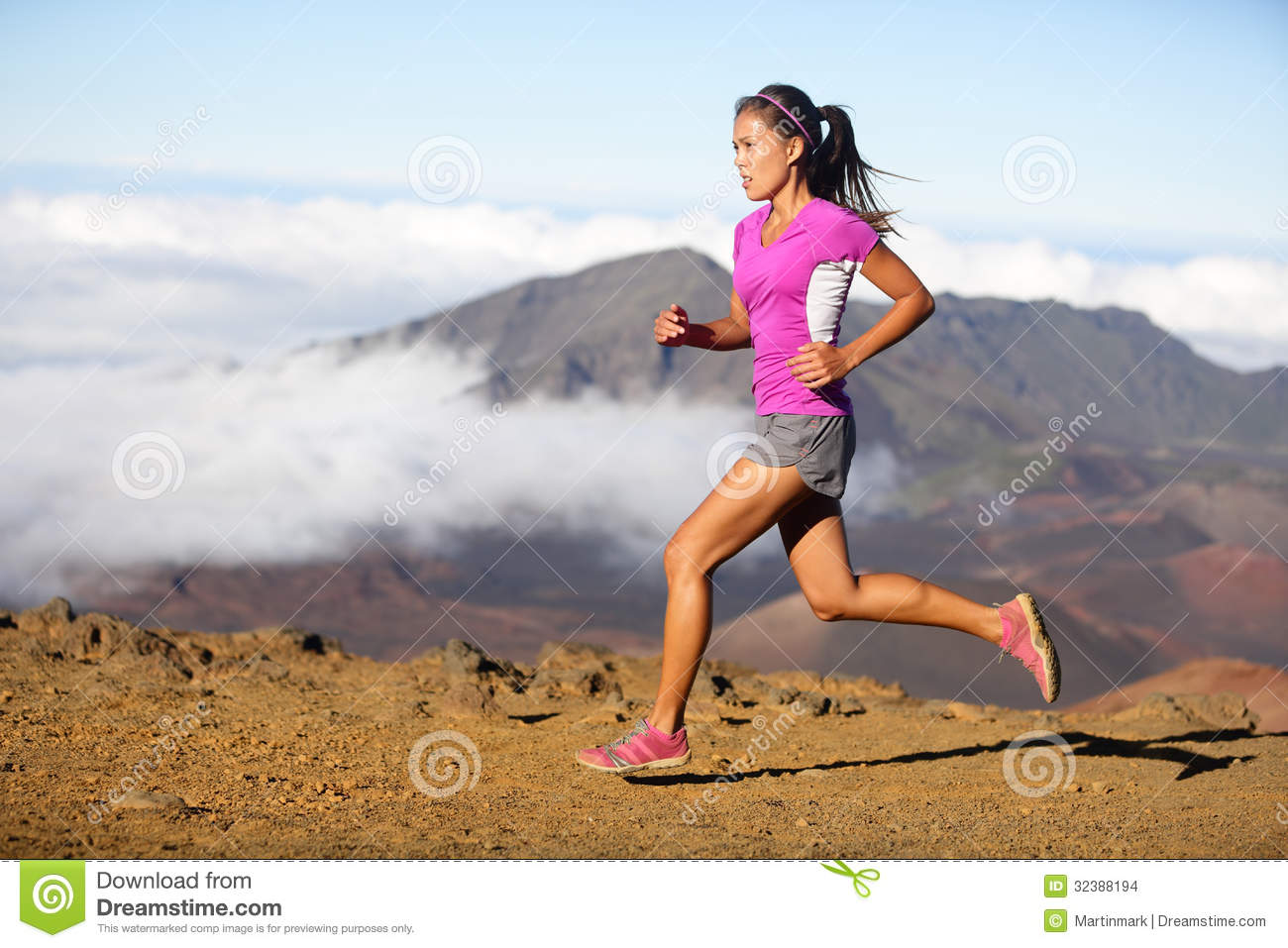 Succes Runner Woman Athlete Running Sprinting Stock Photo ...