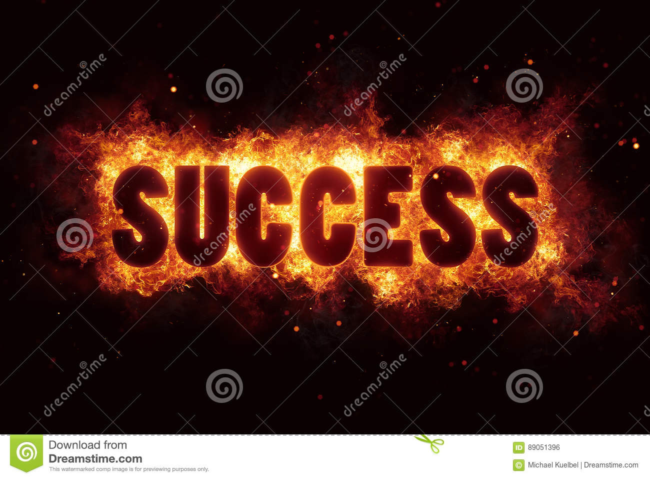 Success Business Career Text On Fire Flames Explosion Burning Stock