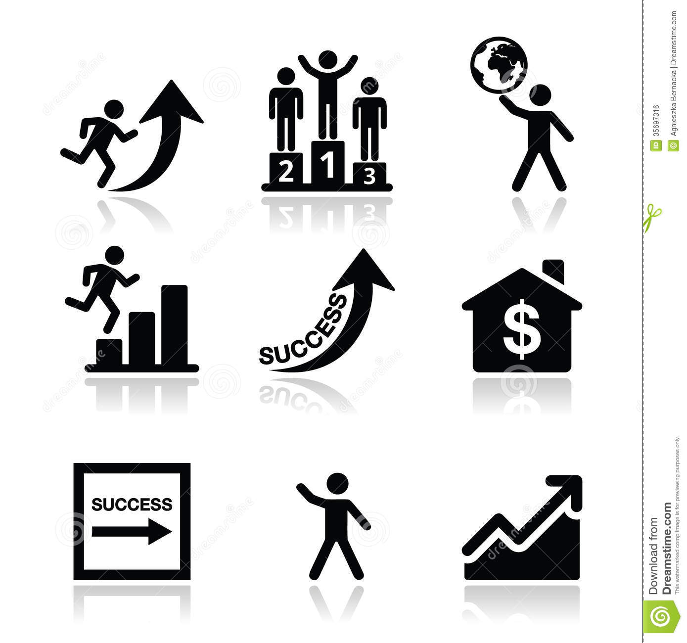 Success In Business Self Development Icons Set Stock Photo Image