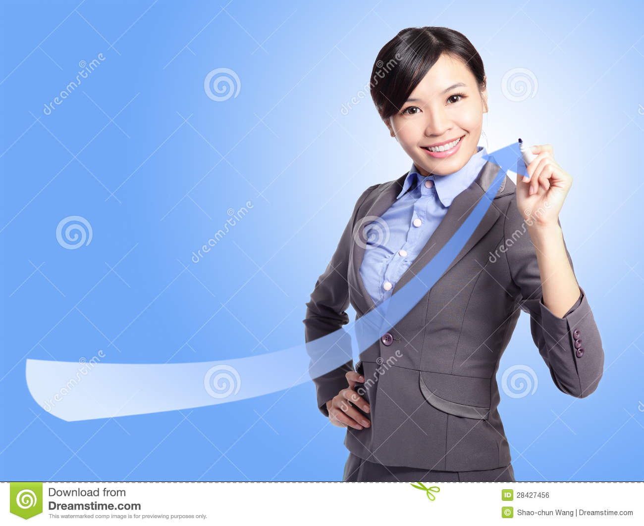 Success Business Woman Draw Arrow Royalty Free Stock Image ...