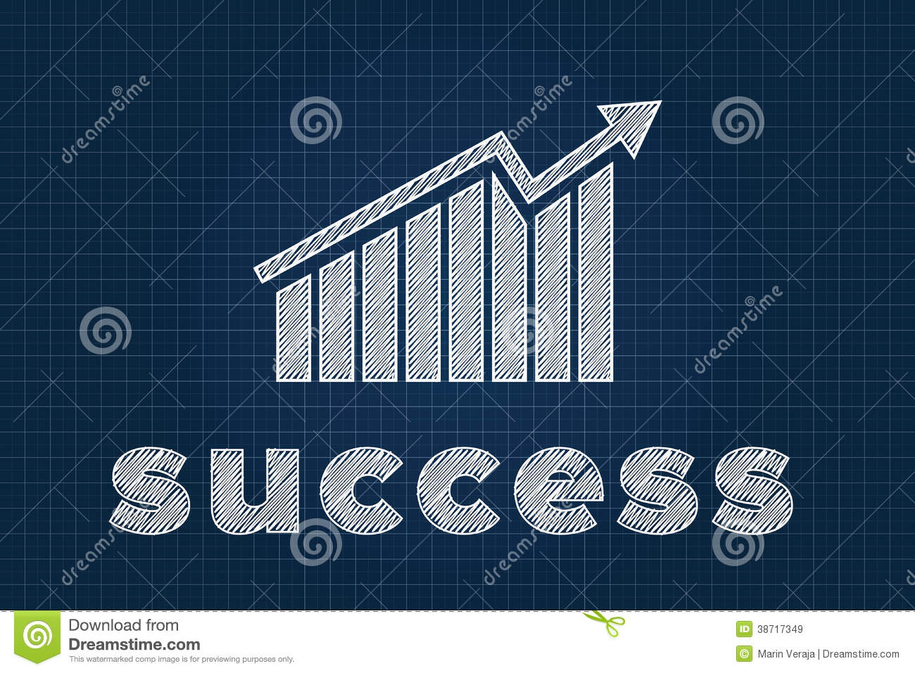 Success concept with graph on blueprint stock vector success concept with graph on blueprint malvernweather Gallery