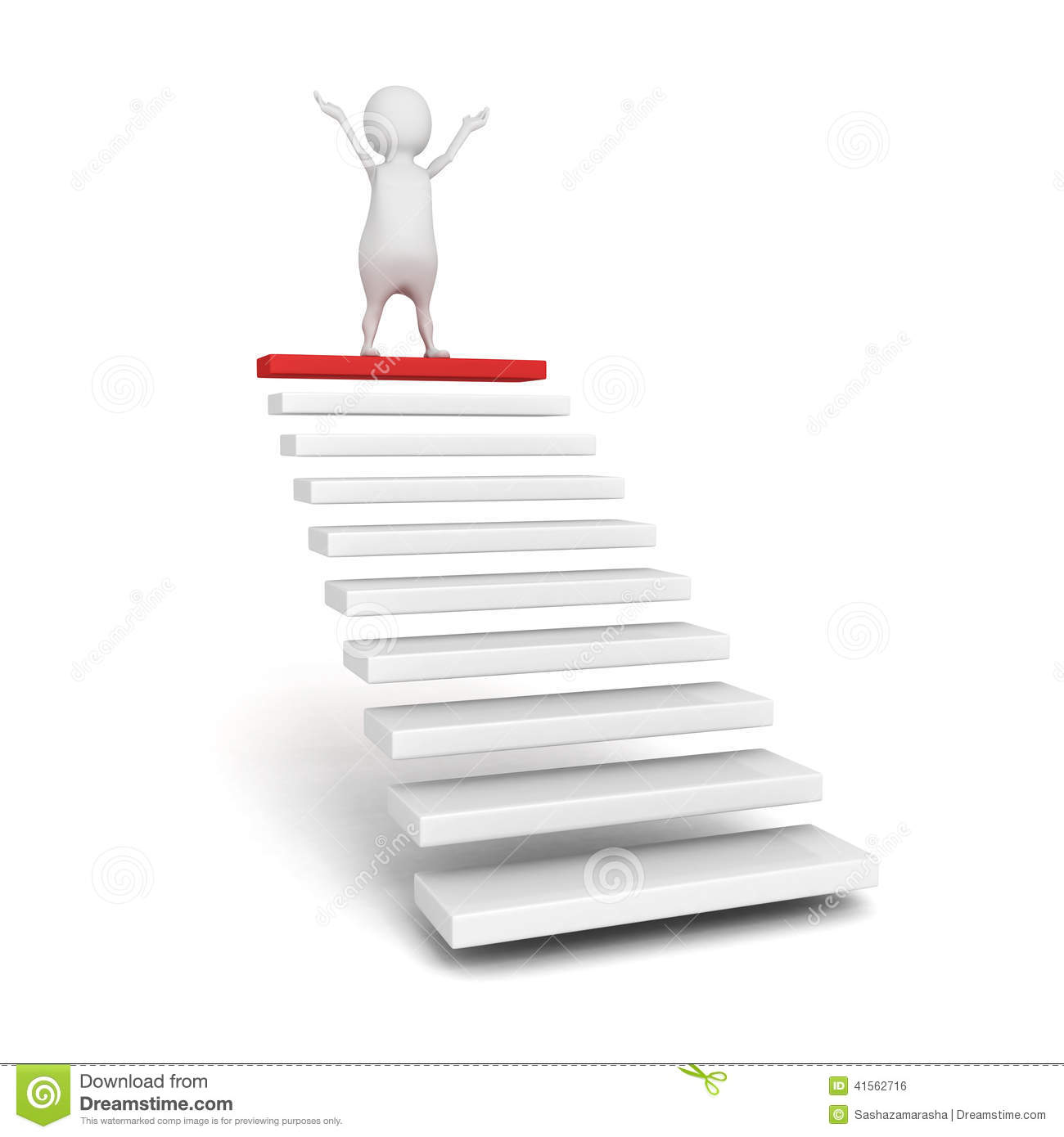 Success 3d Person On The Top Of Steps Or Stair Ladder