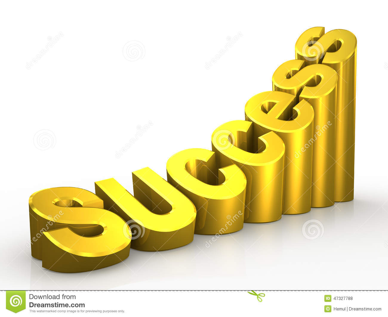 3d gold word success on white background stock illustration