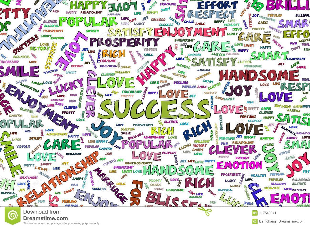 Success Illustrations Of Positive Emotion Word Cloud Art
