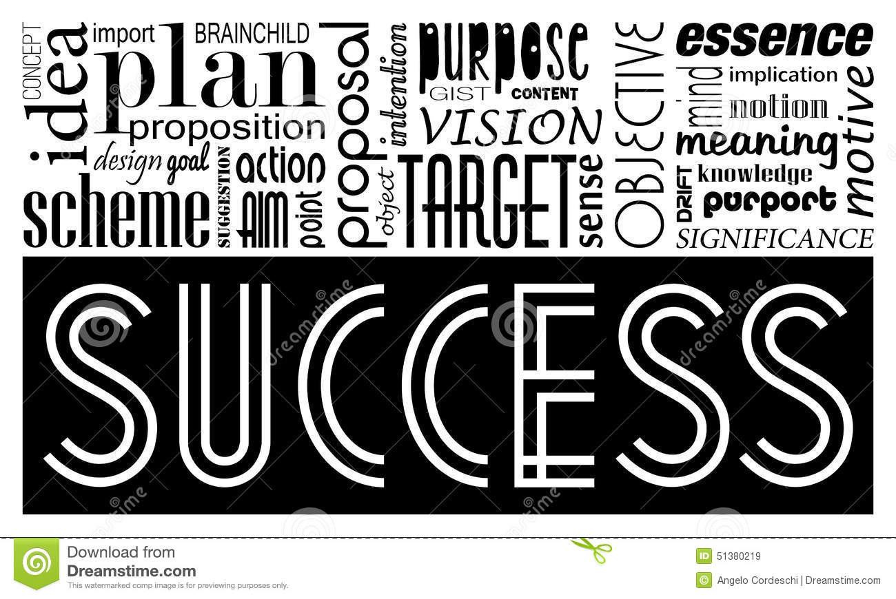 Success keywords concept and synonyms. Idea motivational banner