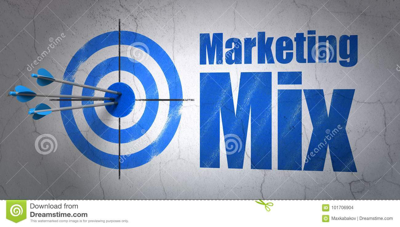 Marketing concept: target and Marketing Mix on wall background