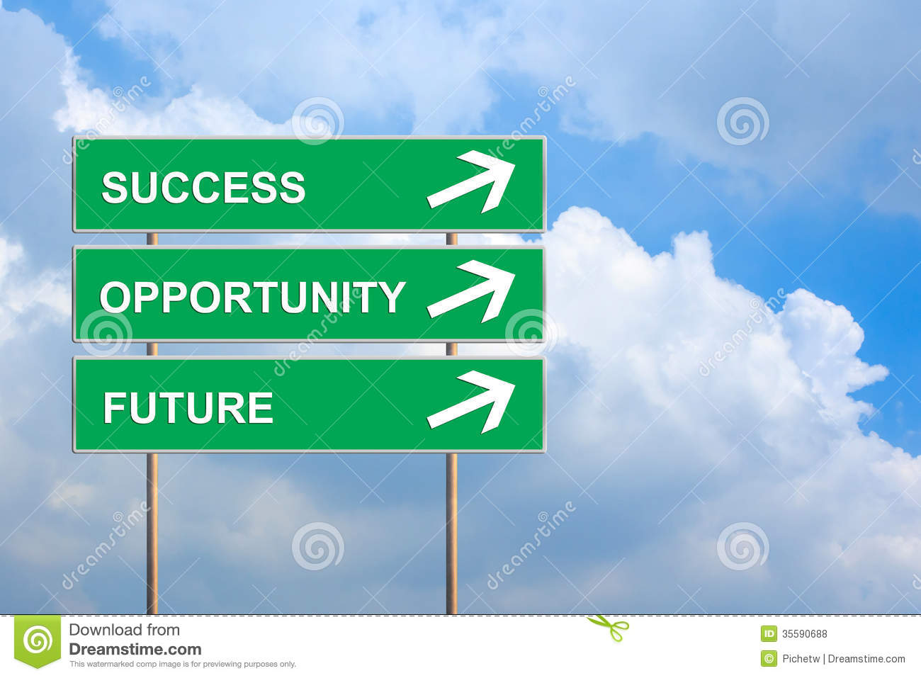 Success Opportunity And Future On Green Road Sign Royalty Free Stock Photos Image 35590688