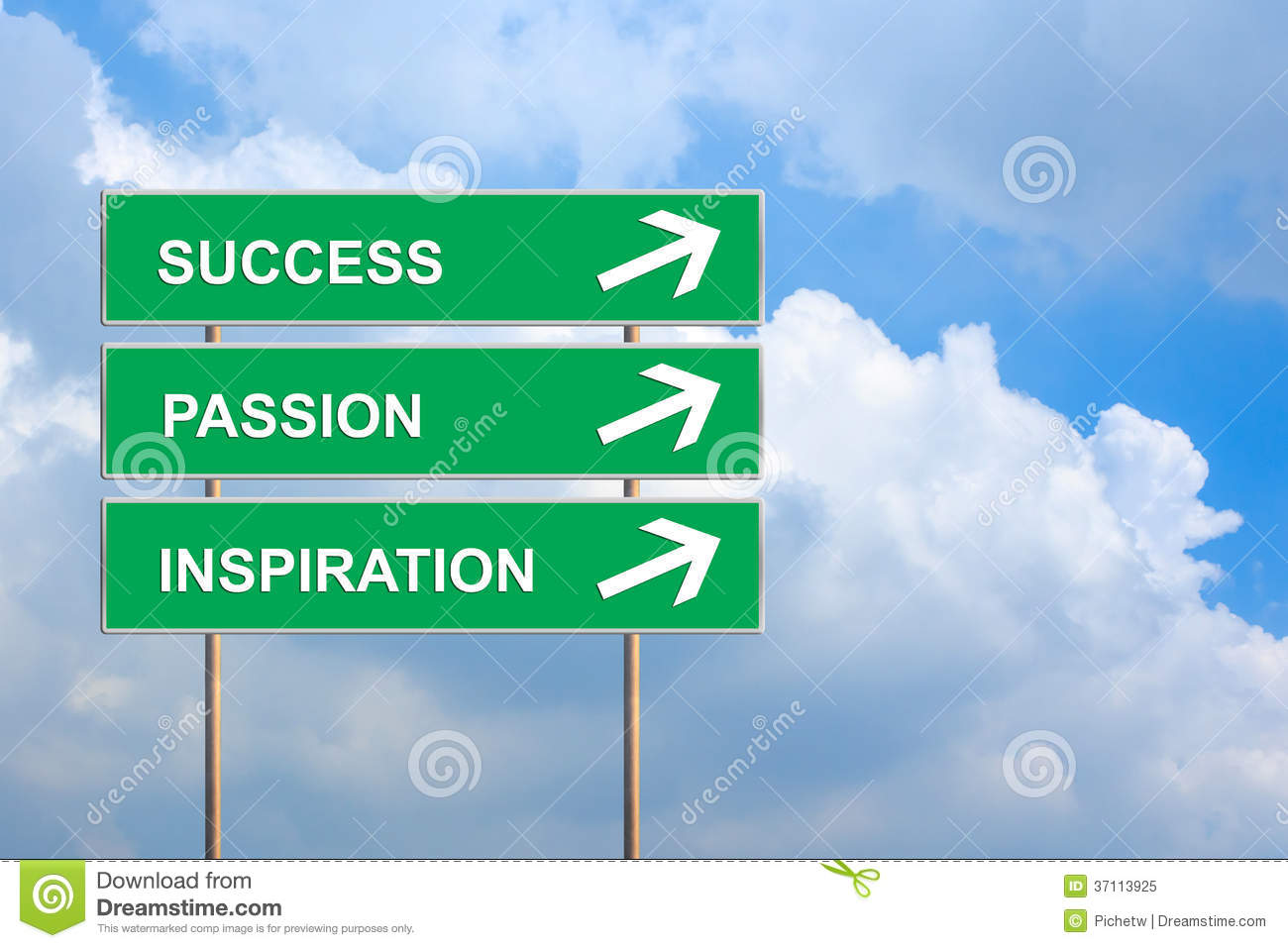Success, Passion And Inspiration On Green Road Sign ...
