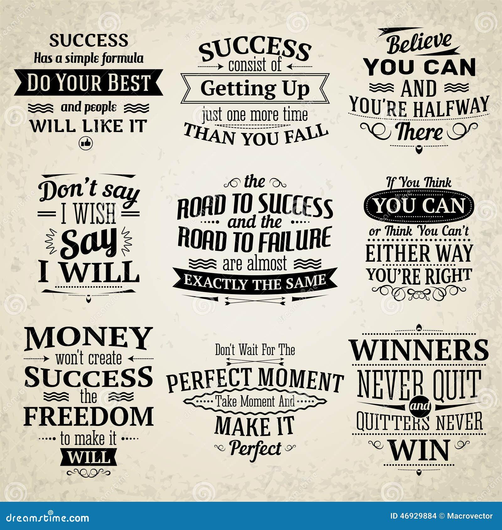 Success Motivational Quotes: Success Quotes Set Stock Vector. Illustration Of Retro