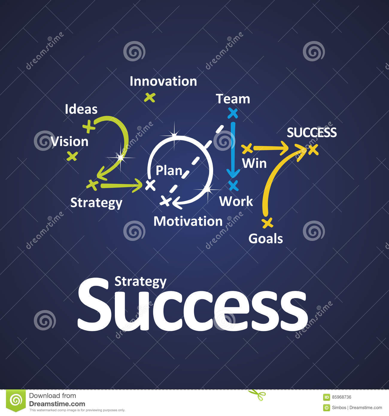 success strategy 2017 vision ideas strategy plan team work goal win color blue background vector