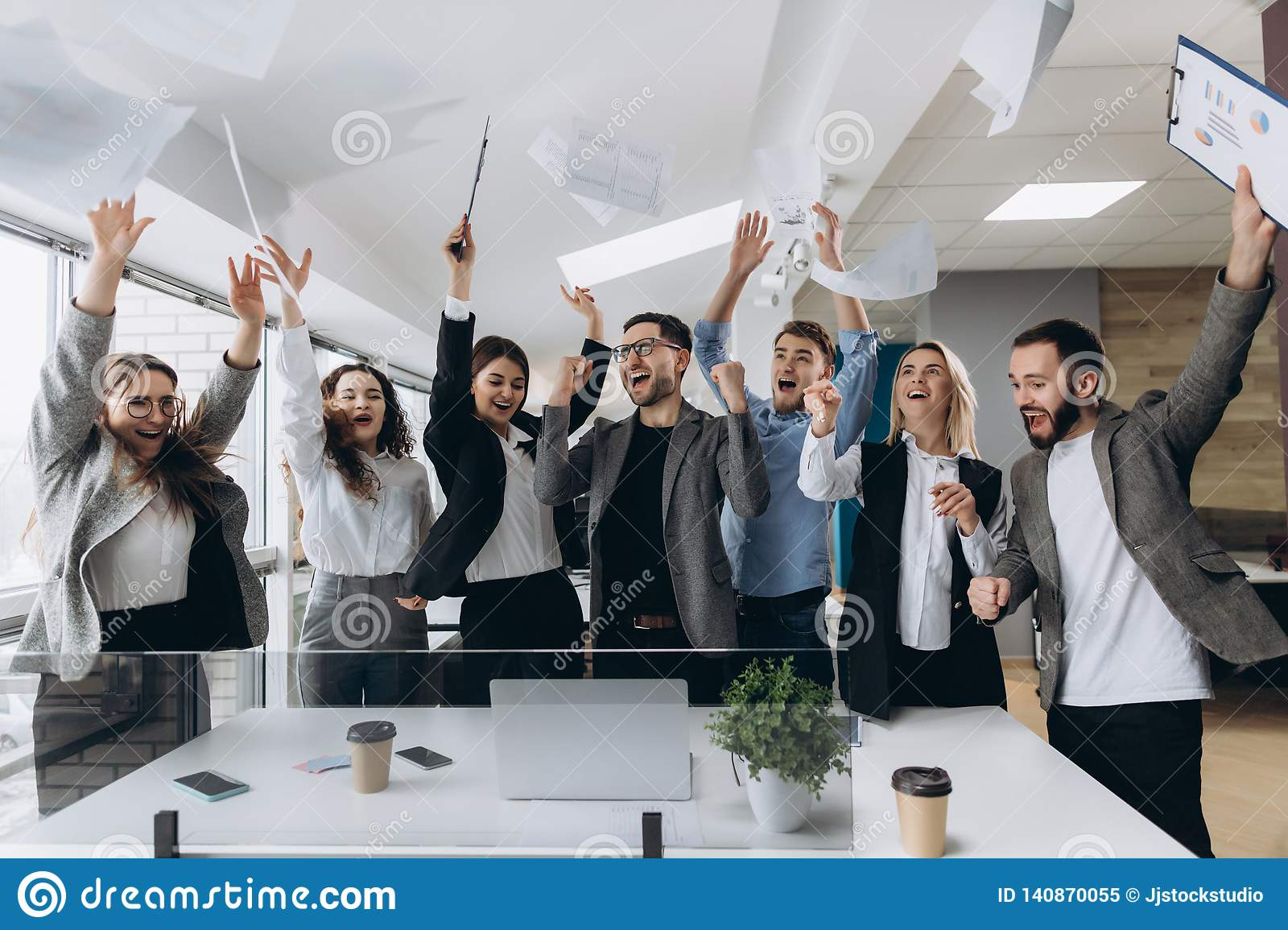 Success And Winning Concept Happy Business Team Celebrating Victory In Office Stock Image Image Of Joyful Office 140870055