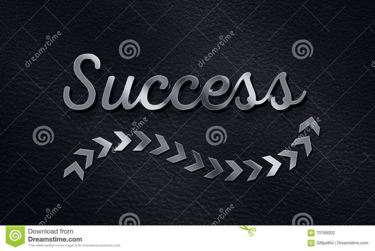 Success Word With Arrow Sign Background 3d Metallic Text Effect