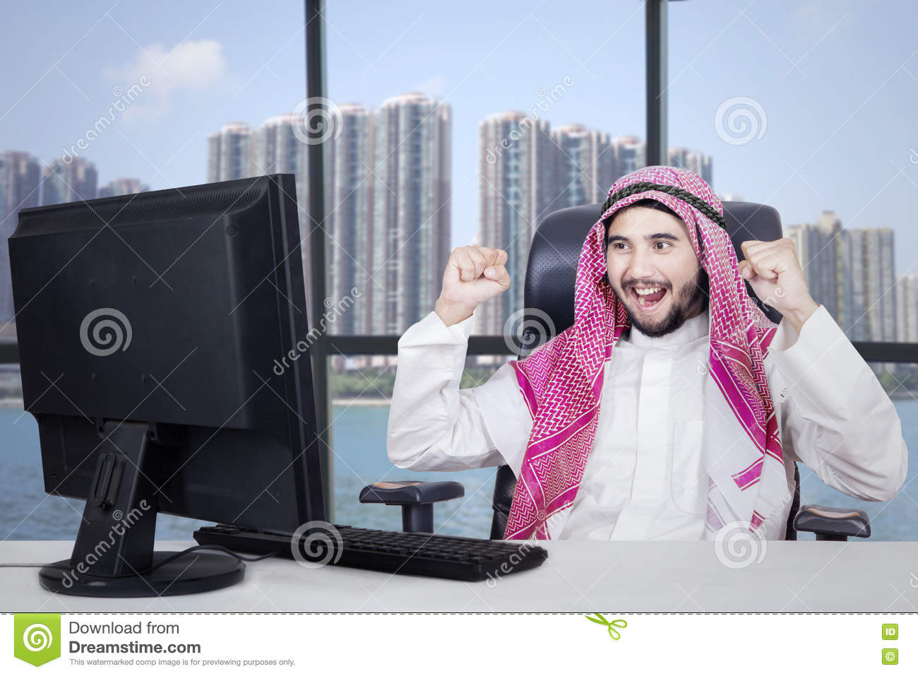 Successful Arabian businessman in office