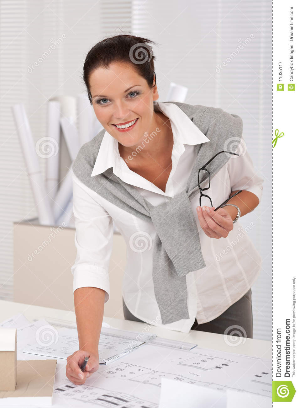 Successful architect business woman work at office royalty for Architect at work