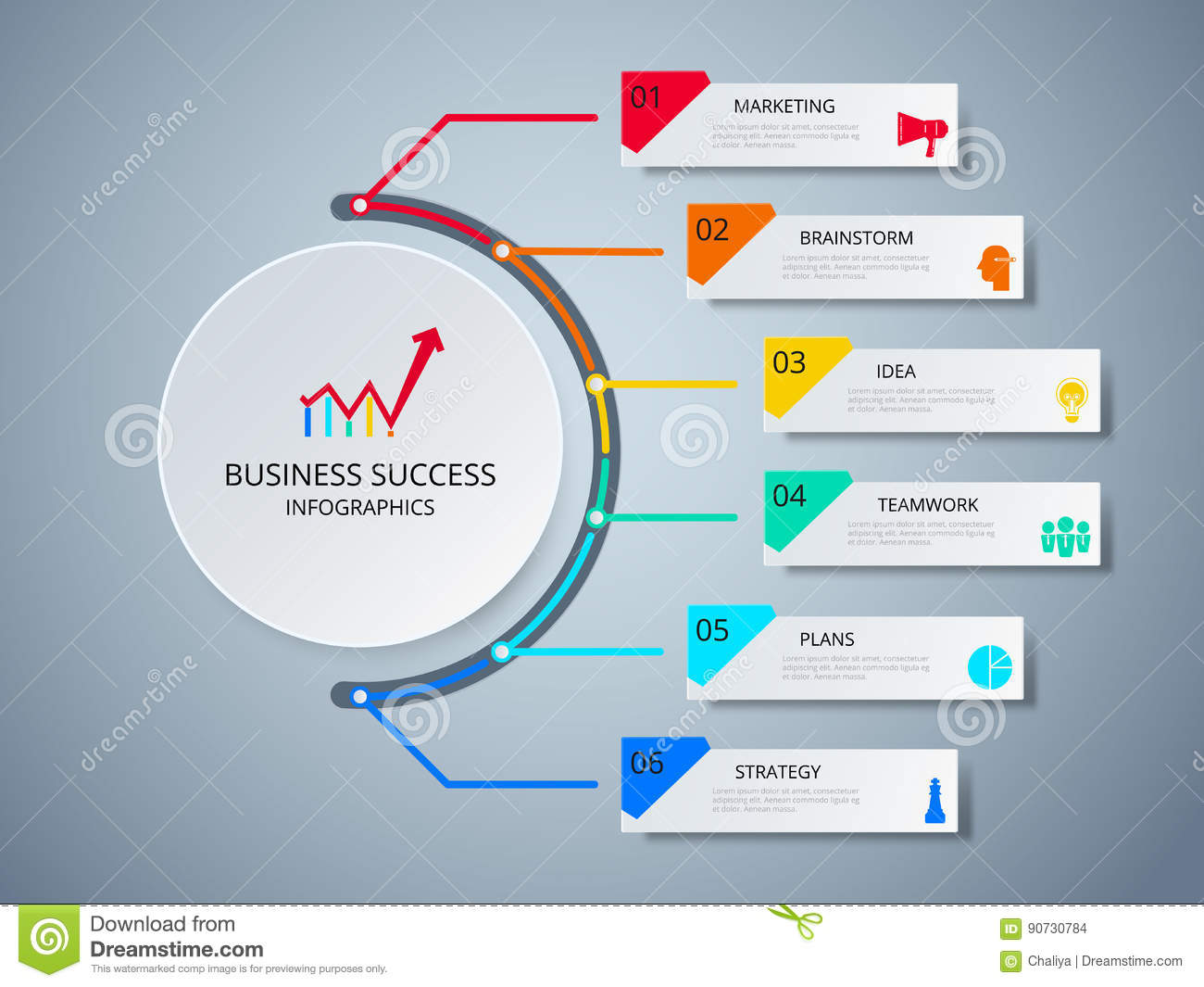 Successful business concept circle infographic template. Infographics with icons and elements