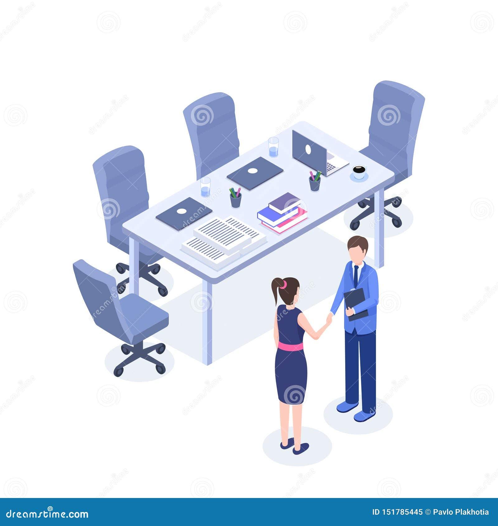 Successful Business Negotiations Isometric Illustration  HR