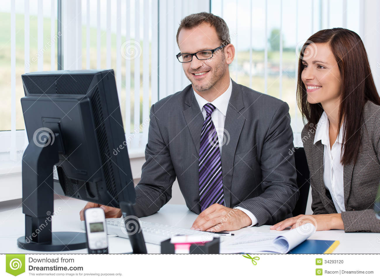 Furniture Computer Desk for Two People : Successful Business Partnership Stock Photo - Image: 34293120