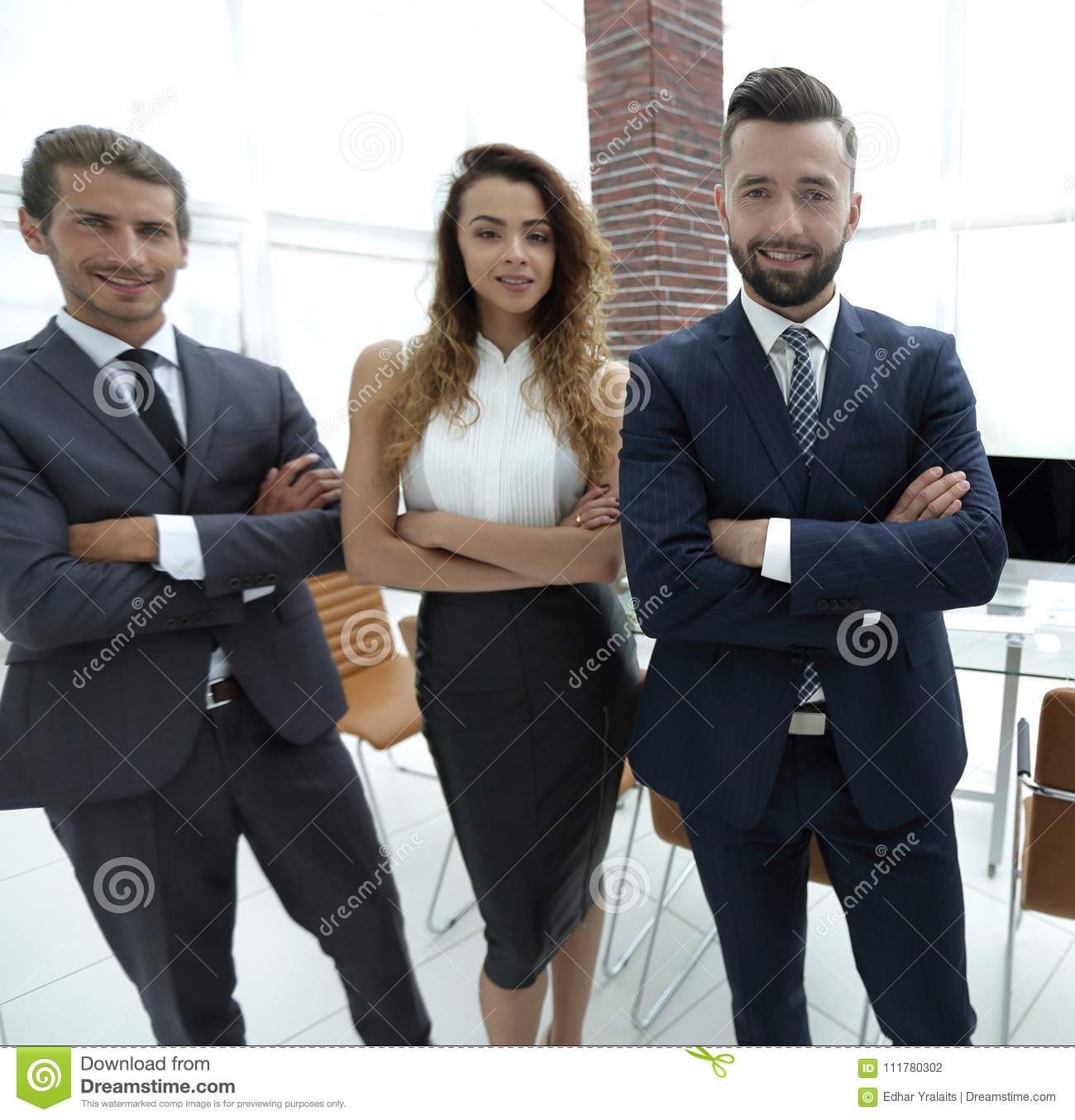 Successful business team in the background of the office.