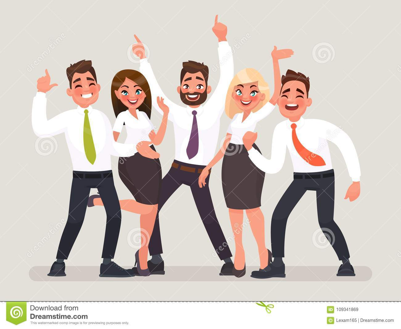 Successful business team. A group of happy office workers celebrating the victory