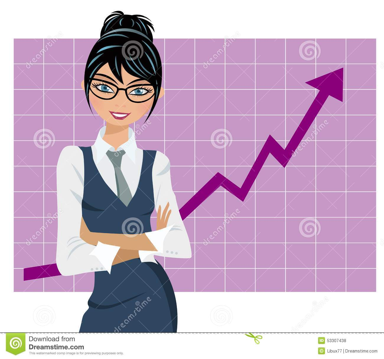 Download Successful Business Woman Graph Stock Vector - Illustration of bouquet, happy: 53307438