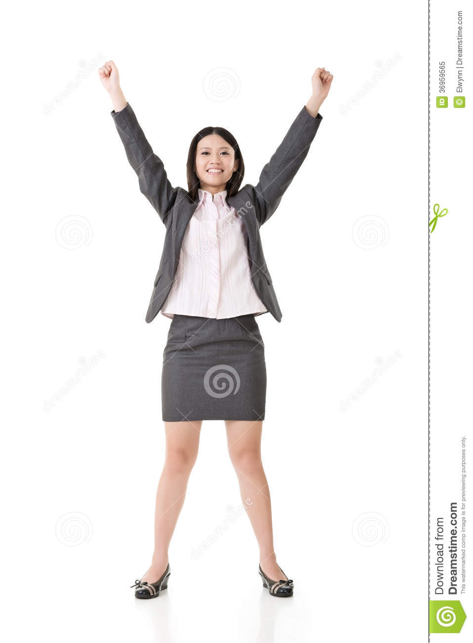 Successful Business Woman Hands Up Royalty Free Stock ...