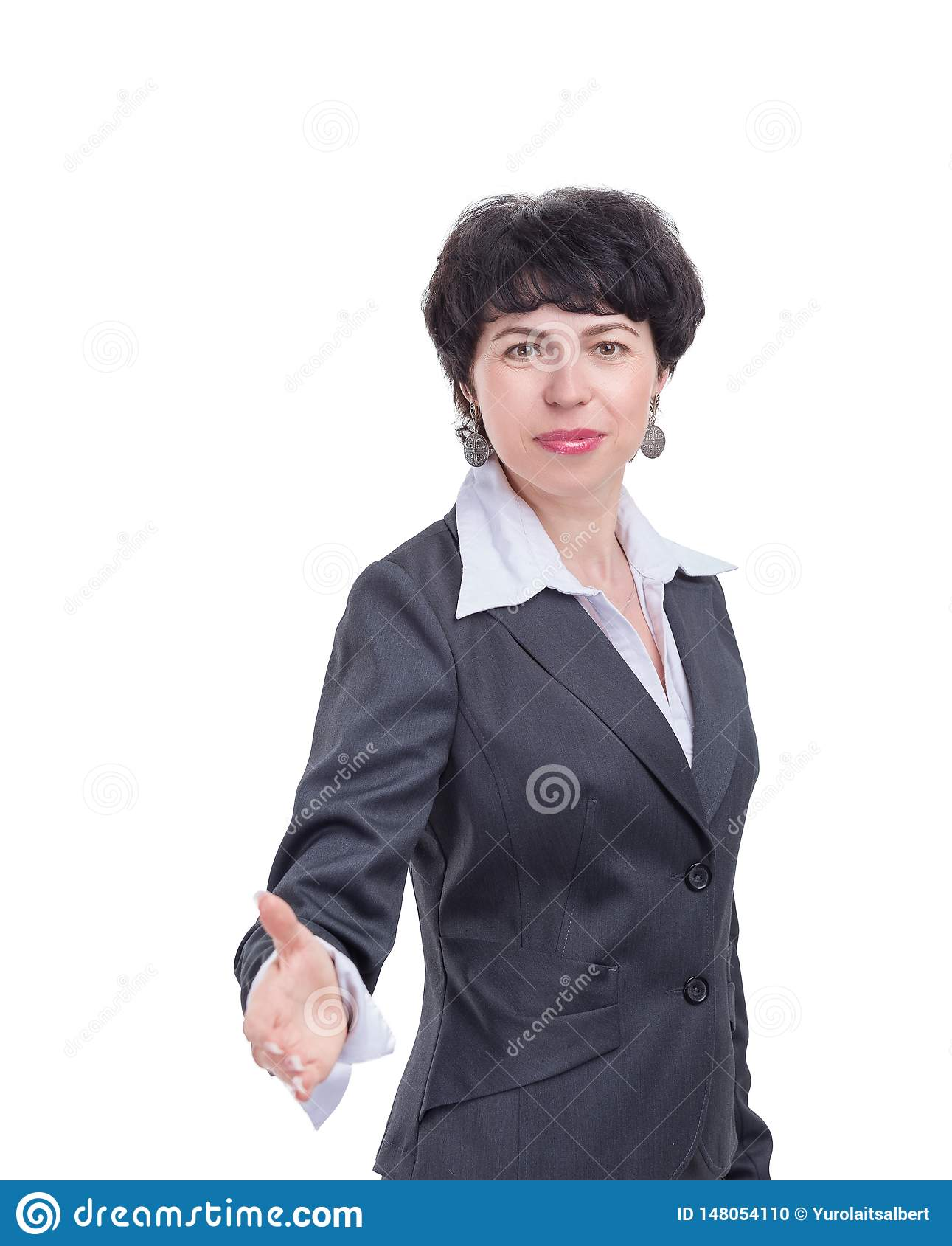 Successful business woman holding out her hand for a handshake