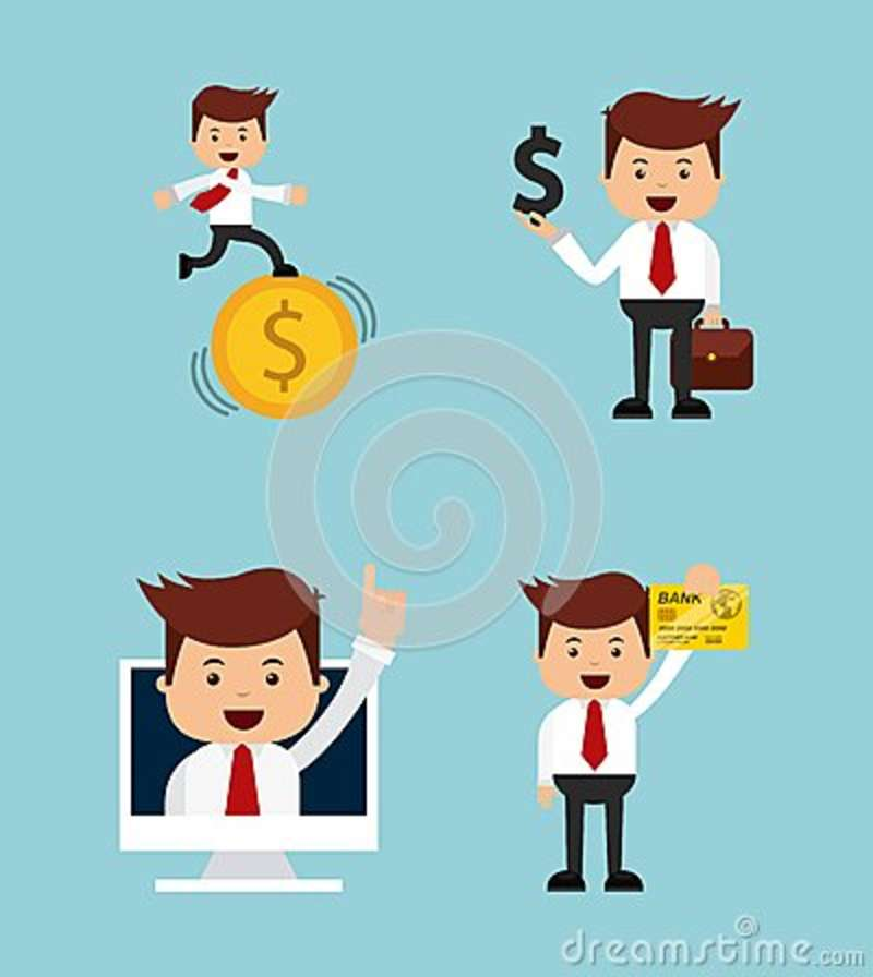 Character Design Icon : Man happy with portfolio business design icon royalty free
