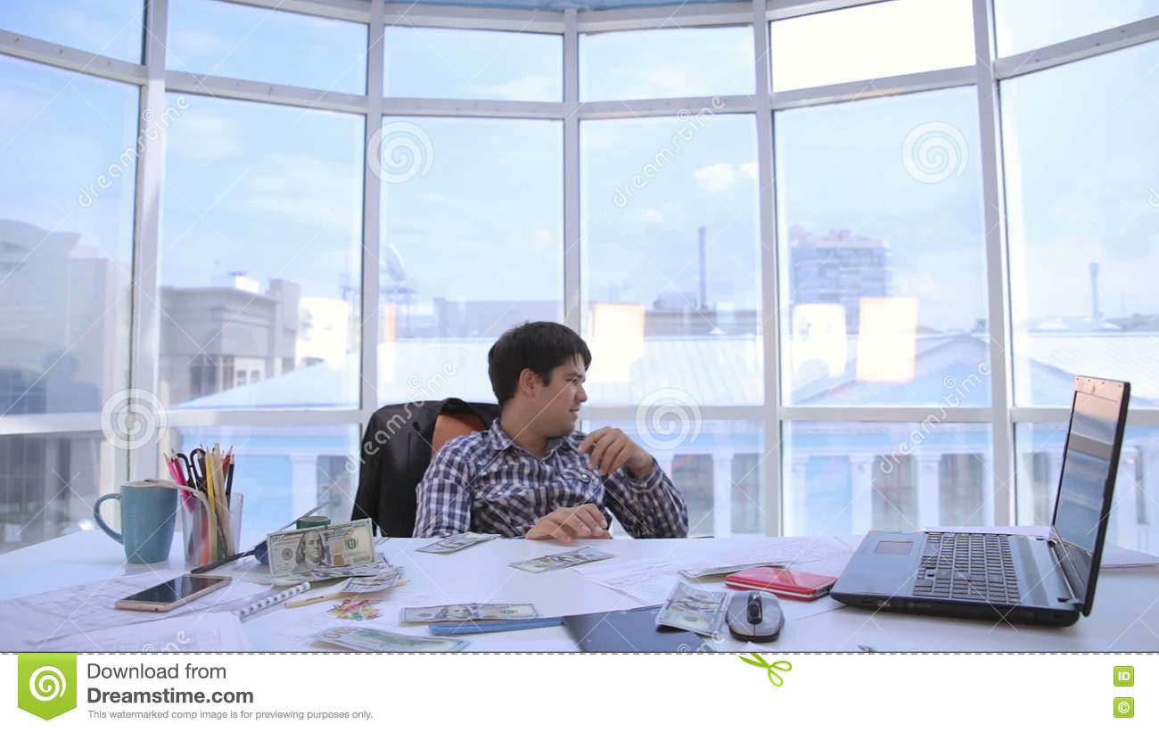Successful Businessman Counting And Throwing Up Us Dollar Money In Bright Clean Office Business Money Success Concept Stock Video Video Of Falling Dollar 75800183