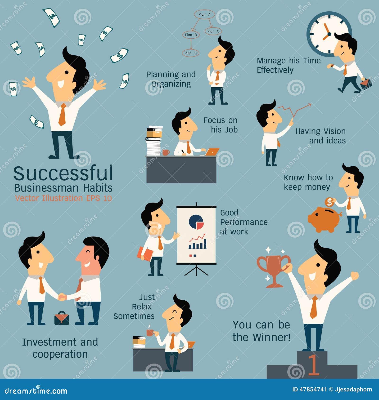 Successful Businessman Habits Stock Vector Image 47854741