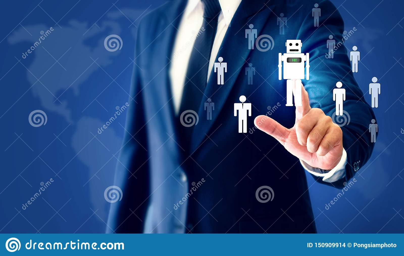 Successful businessman hand touch virtual robot AI represents a substitute for human work