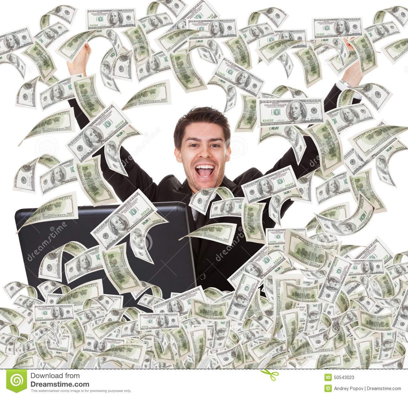 Successful businessman with money rain