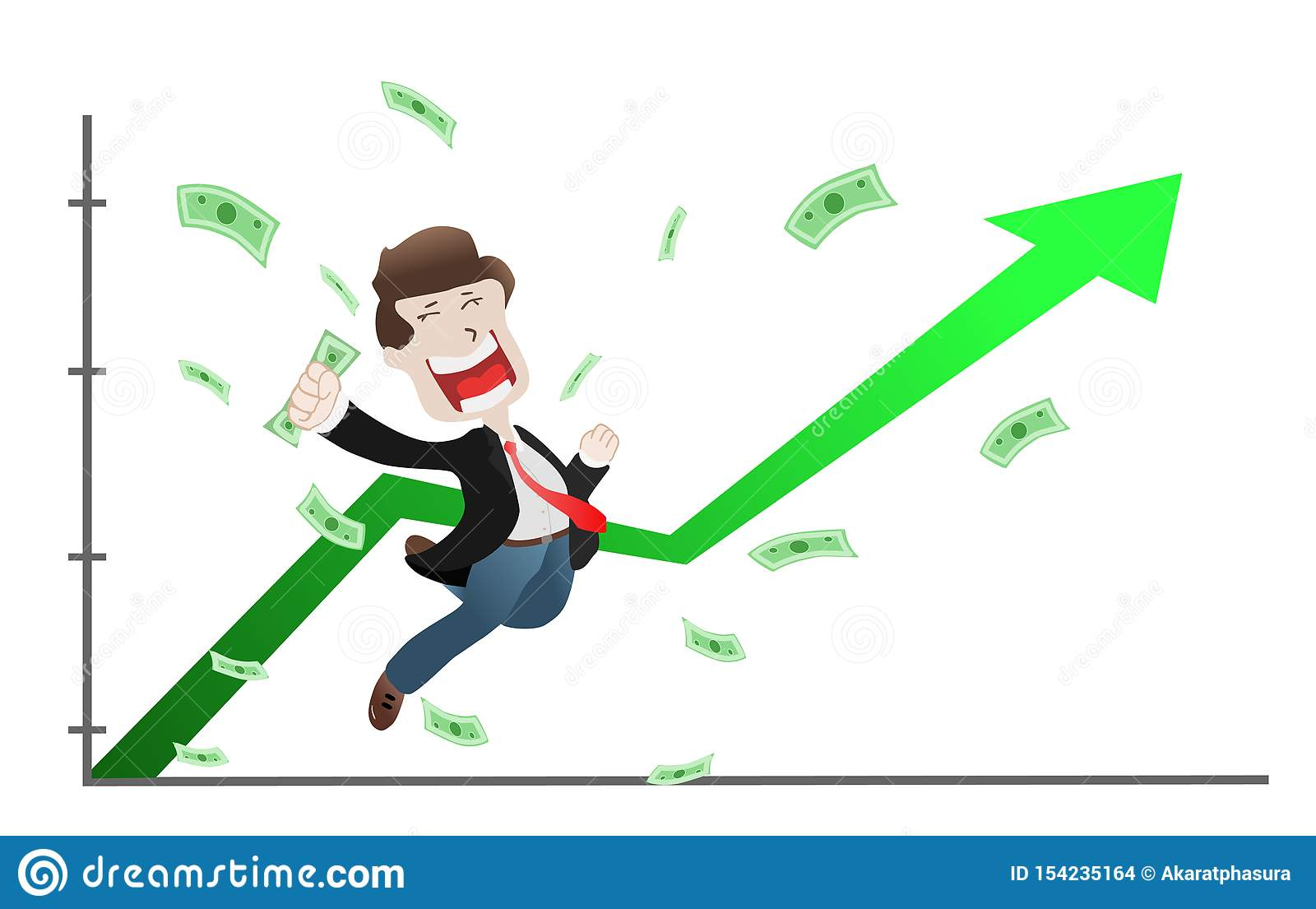 Successful Businessman Raised Hands On Uprising Arrow Graph Chart, Stock Price  Up, Increase Stock Vector - Illustration of investing, financial: 154235164