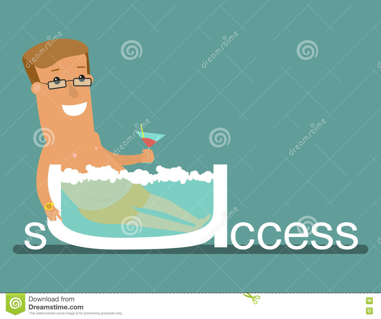 Successful businessman relaxing on the jacuzzi business concept of financial freedom.
