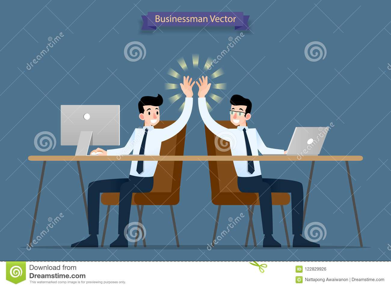 Successful businessman, teamwork working together by using computer and laptop giving high-five, congratulation each other after