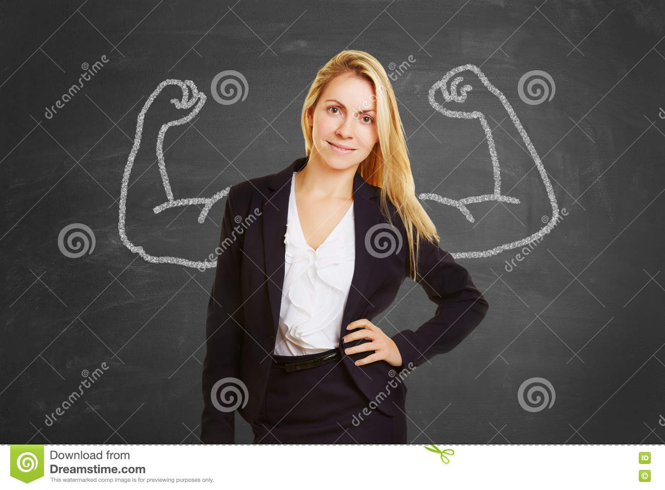 Successful businesswoman with fake muscles