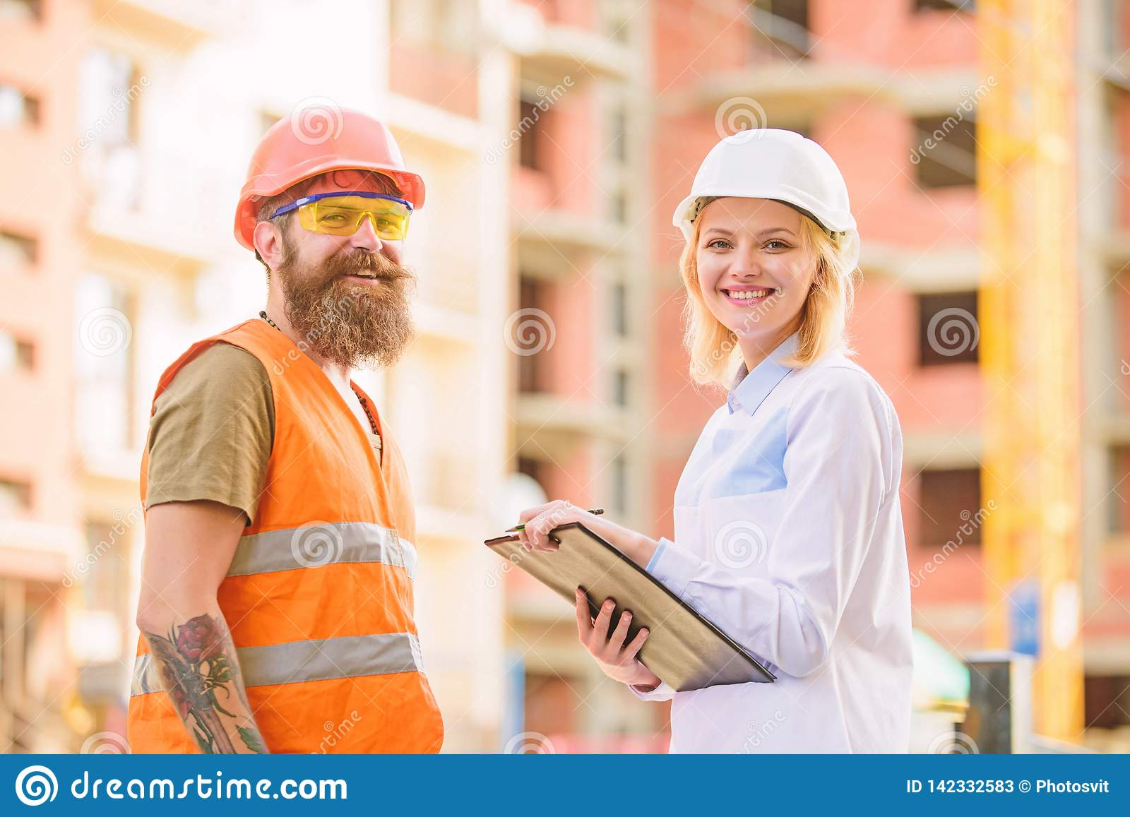 Successful deal concept. Purchase of building materials. Construction industry. Foreman established supply of building