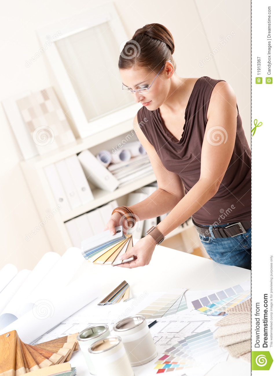 Successful Interior Designer Woman At Office Royalty Free Stock Photography
