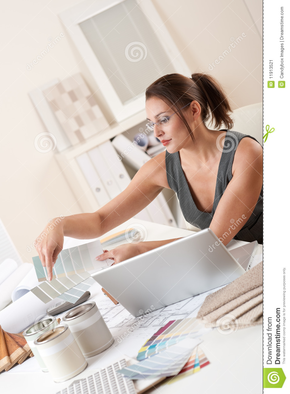 Successful Designer Woman At Office With Laptop Stock