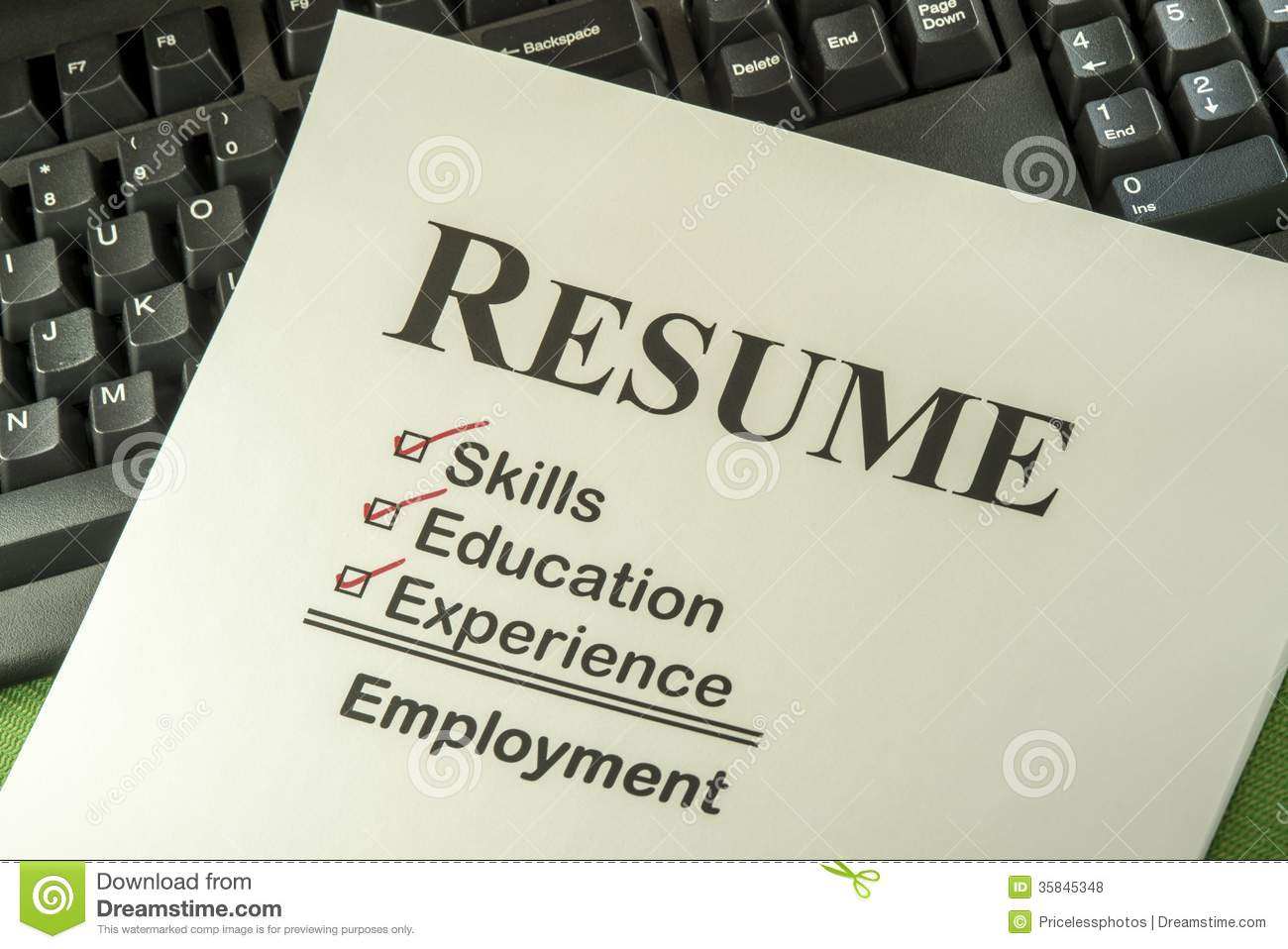 successful employment concept with resume checklist stock