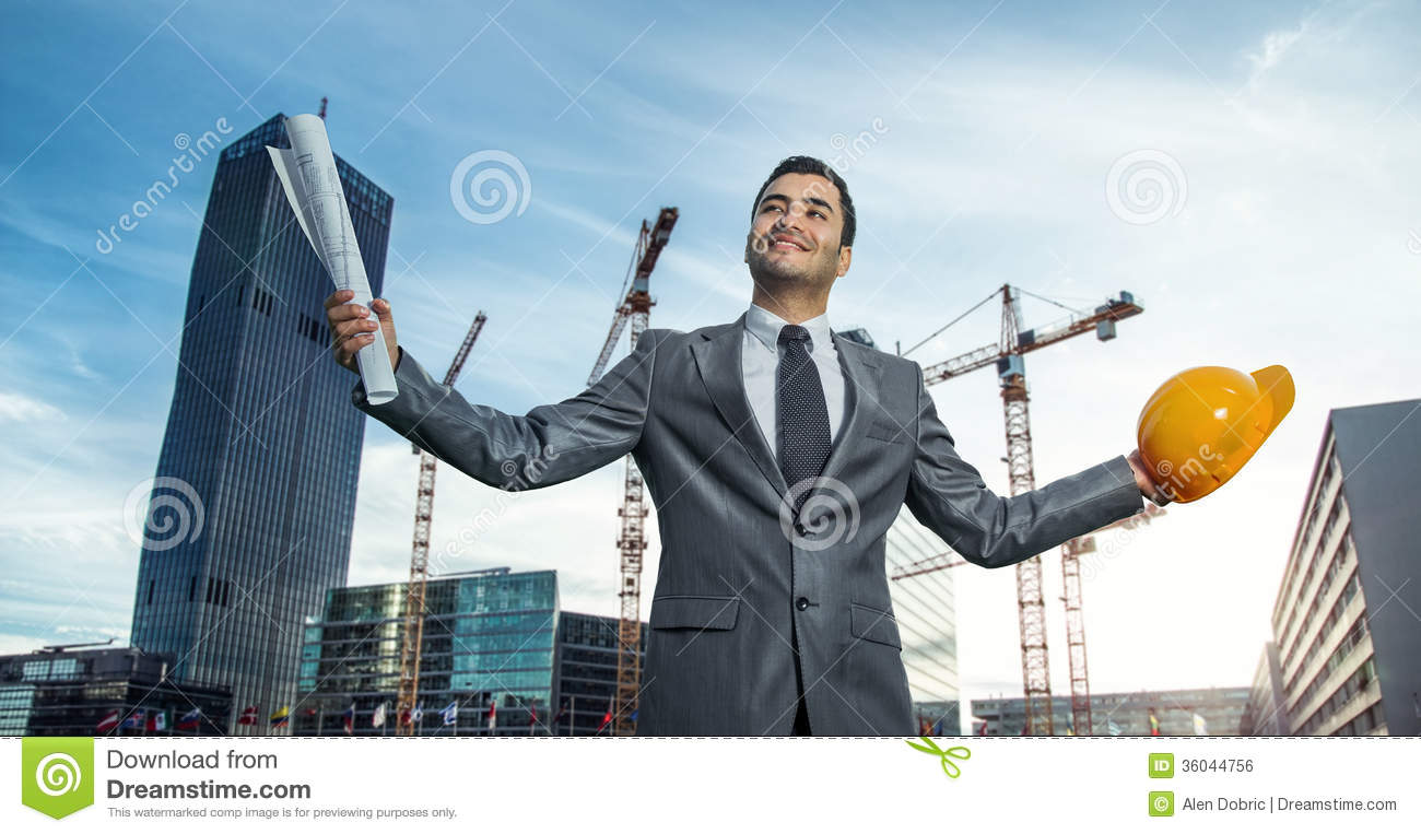 successful engineer or architect royalty free stock image