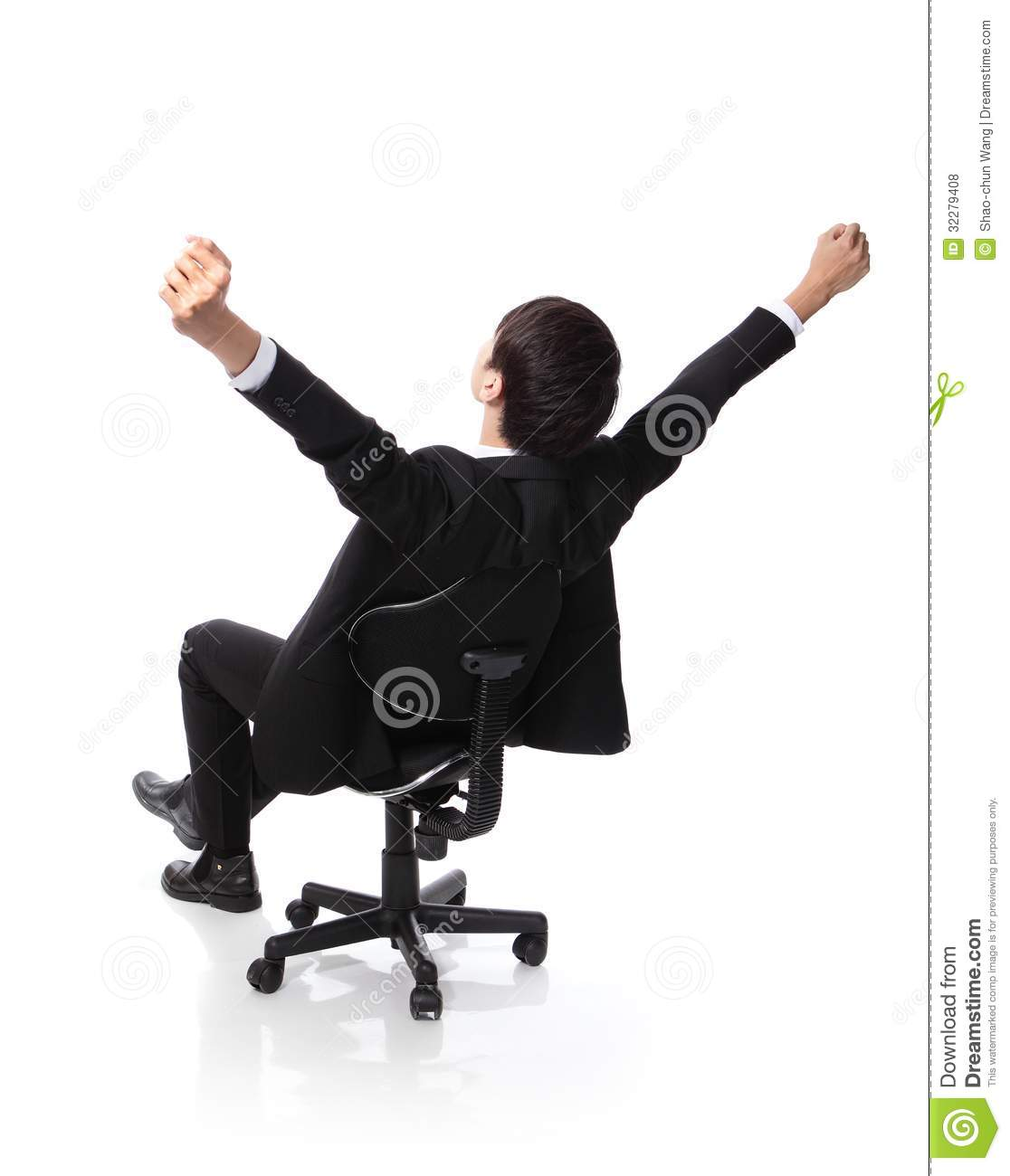 Back view of Successful excited Business man sitting in chair, young ...