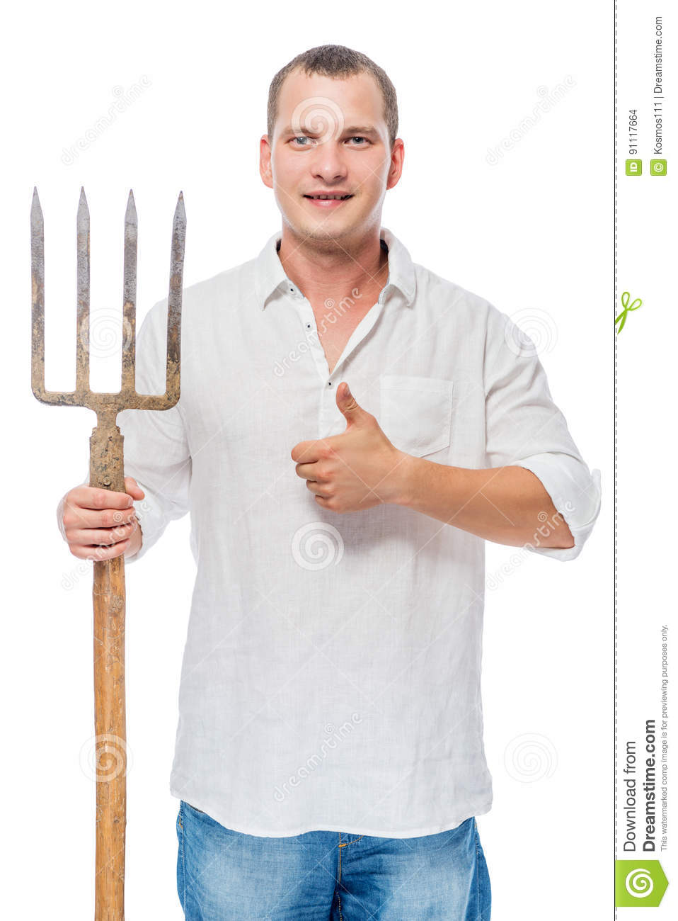 Successful gardener with a pitchfork on a white posin