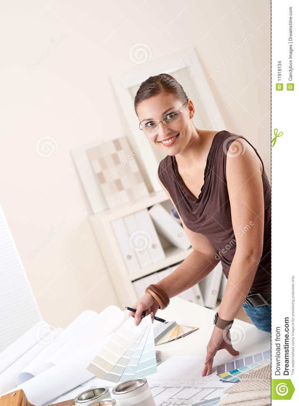 Successful Interior Designer Woman At Office Stock Images