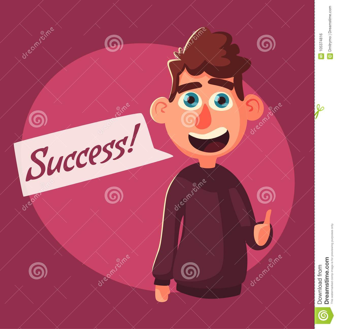 Successful person standing with raised arm up. Character giving thumb up. Catoon vector illustration