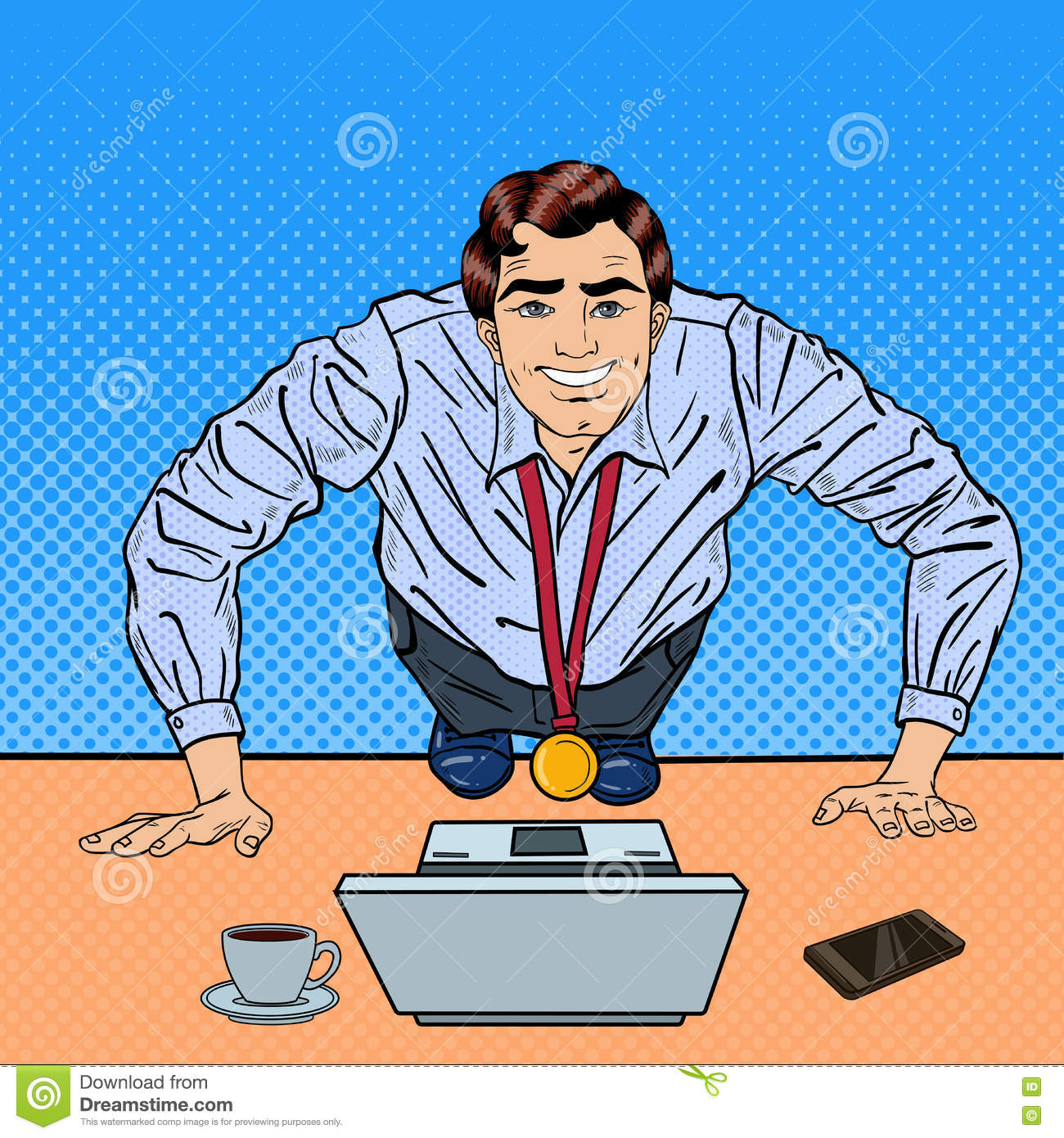 successful pop art business man with medal doing push ups on the office table with laptop stock. Black Bedroom Furniture Sets. Home Design Ideas
