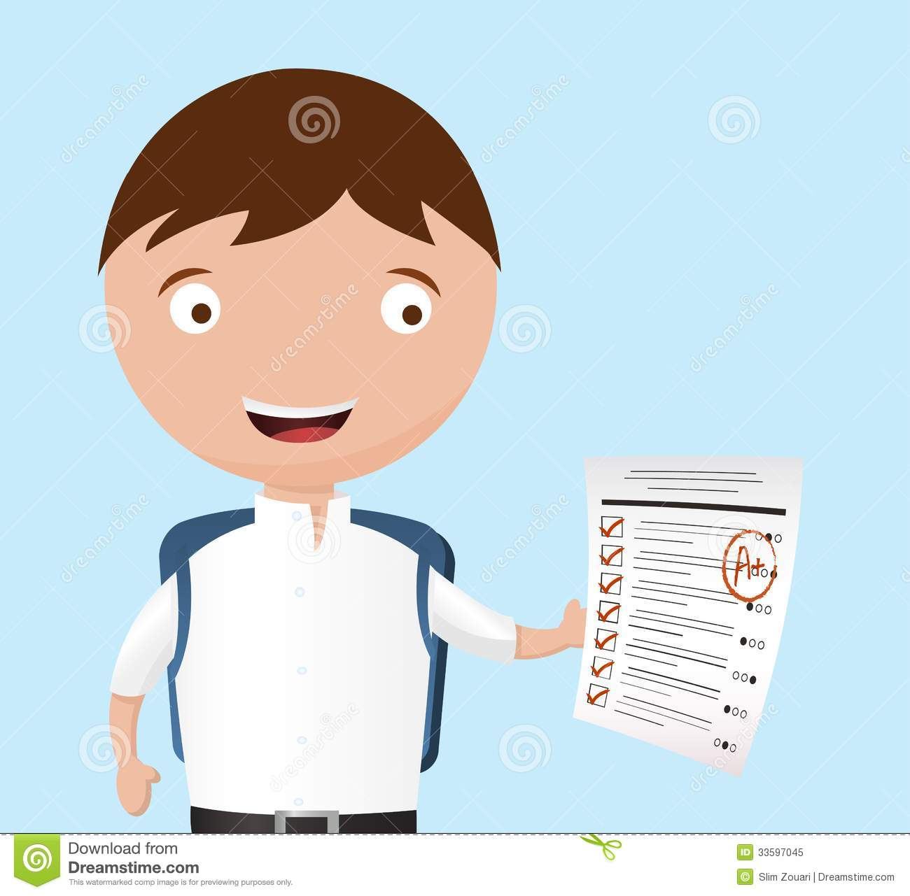 successful school boy gets an a  on his exam royalty free